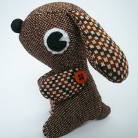 Stuffed animal puppy dog Brown Vintage style by TheOffbeatBear
