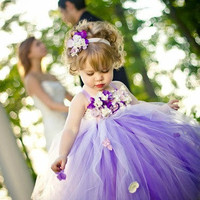 Purple Flower Girl Dress by FrillyFairyTales on Etsy