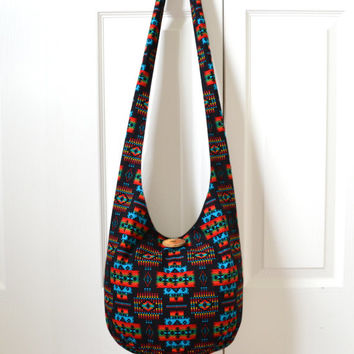 Hobo Bag, Sling Bag, Aztec, Southwestern, Geometric, Red, Blue, Black, Hippie Purse, Crossbody Bag