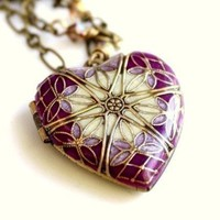 Locket Filigree Brass Locket Purple Necklace by MStevensonDesigns