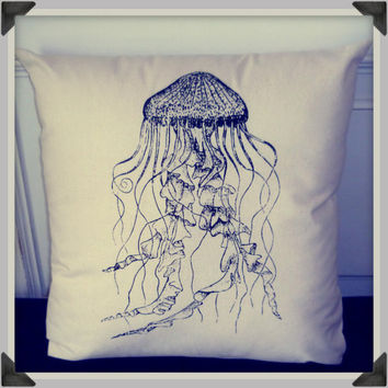 Screenprinted Jellyfish Cushion Nautical handmade by blacklightad