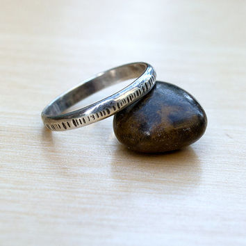 Men's Ring Size 8.5 US, Sterling Silver Band, Oxidized Rustic Ring, Hammered Ring, Minimalist Ring, Men's Band, Ready to Ship, Simple Ring