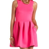 NEON RACER FRONT PLEATED SKATER DRESS