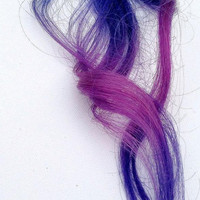 TWO COLOUR clip in hair extensions blue and purple by Aaadriana