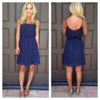 Sailor Girl Bow Dress - NAVY