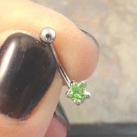Tiny Light Green Crystal Star Eyebrow Ring Rook Ear Piercing
