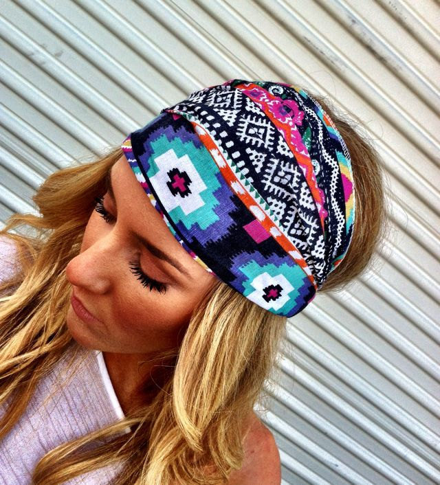 Aztec Boho Headband Cotton Wide Turban Head Scarf by ThreeBirdNest