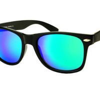 Cool Green Mirror Lens Wayfarer Style Sunglasses Shades W345