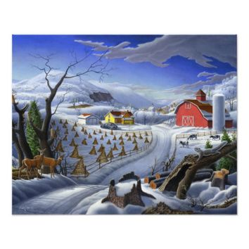 Folk Art Winter Deer Landscape Farm fairy tale