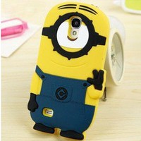 Fashional 3D silicon material Despicable Me Yellow Minion Phone Case for Samsung Galaxy S3 i9300 (style-3)