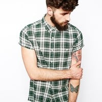 ASOS Linen Mix Shirt In Short Sleeve With Green And White Check