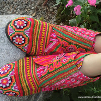 Rainbow Hmong Embroidered Vegan Retro Ankle by SiameseDreamDesign