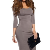 Back to Basic's Gray Midi 3/4 Sleeve Dress