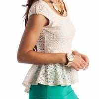 crochet peplum top $28.80 in CREAM GREEN RUST - Crochet | GoJane.com