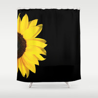 colored summer ~ sunflower black Shower Curtain by Steffi ~ findsFUNDSTUECKE