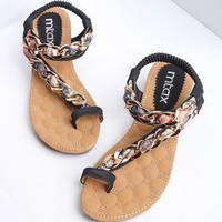 Heeled Flip Flops with Metal Detail F0606