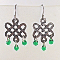 Pewter Celtic Knot Earings with Green Drop Beads by SeventhChild