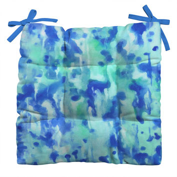 Rosie Brown Blue On Blue Outdoor Seat Cushion