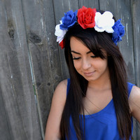 Flower Leather Headband - Adjustable Floral Headband - Patriotic Headband - 4th of July - Red White Blue Roses