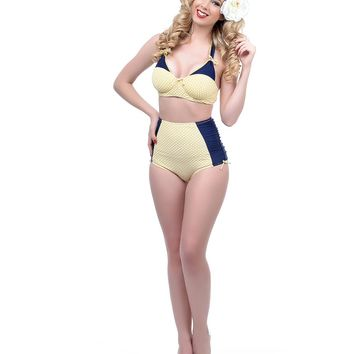 Unique Vintage Yellow & Navy Dot Casablanca Swim Top - New Arrivals!