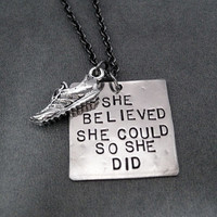 She Believed She Could So She Did with RUNNING SHOE Necklace - Hand Hammered Nickel Silver Pendants on Gunmetal Chain - She Believed Running