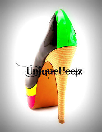 Swarovski Crystal  Multi Neon Toe Pump  Size 75  by UniqueHeelz
