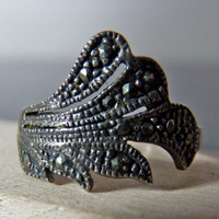 Vintage Silver Marcasite Leaf Ring by FourSailAccessories on Etsy