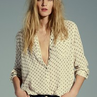 Free People Womens Printed Deep V Boyfriend Shirt -