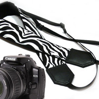 Zebra camera strap. Black and white Camera strap. dSLR Camera Strap. Camera accessories. Nikon Canon camera strap.