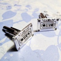 Mix TapeCuff Links - Cassette - Retro - 80s - 90s - Music | CsCharms - Accessories on ArtFire