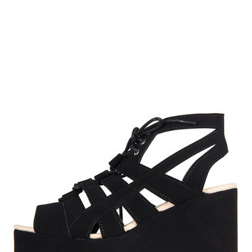 Laced Up Sandal Wedges