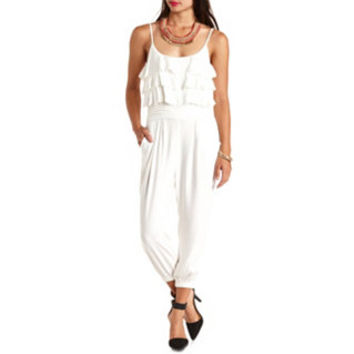 PLEATED RUFFLE CROPPED JUMPSUIT