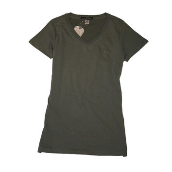 Branded Bull Women's Short Sleeve Sueded V-Neck Top