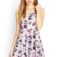 FOREVER 21 Tiered Floral Smock Dress Lavender/Multi