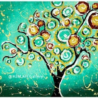 Whimsical Turquoise Tree Of Life Art Print - 11x14 Signed | Luulla