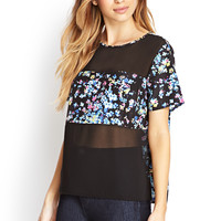 Sheer Paneled Floral Blouse