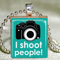 I Shoot People Scrabble Pendant With Necklace And Matching Gift Tin | Luulla