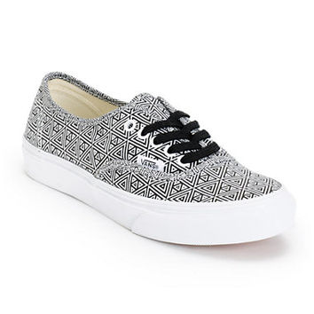Vans Girls Authentic Slim Black & White Geo Print Shoe