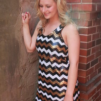 Sequin Chevron Racer Back Dress