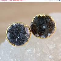 SALE Round Black Druzy Stud Earrings - Post Setting - Gold Filled Posts, Black Geodes