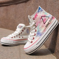 White Triangle Pattern Hand Painted High Top Canvas Sneakers 052821 S0609