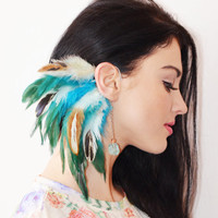 Feather Ear Cuff - Turquoise River