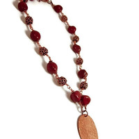 Necklace with Rich Red Jasper Stone and Copper, Wire Wrapped