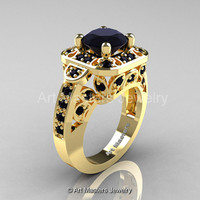 Art Masters Classic 14K Yellow Gold 2.0 Ct Black Diamond Engagement Ring Wedding Ring R298-14KYGBD