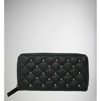 Quilted Stud Black Zip Around Wallet