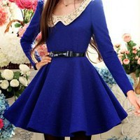 Fashion and hot sell royal blue long woolen lady dress