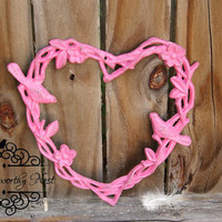 Cast Iron Heart // Heart wall decor // pink heart // shabby decor // Girls Room decor // Love Decor //