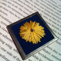 Blue and Yellow Embroidered Dandelion Beaded by BeanTownEmbroidery