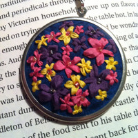 Hot Pink Yellow Purple and Blue Flower by BeanTownEmbroidery