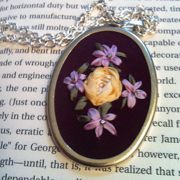 Purple and Lavender Beaded Flower Pendant  by BeanTownEmbroidery